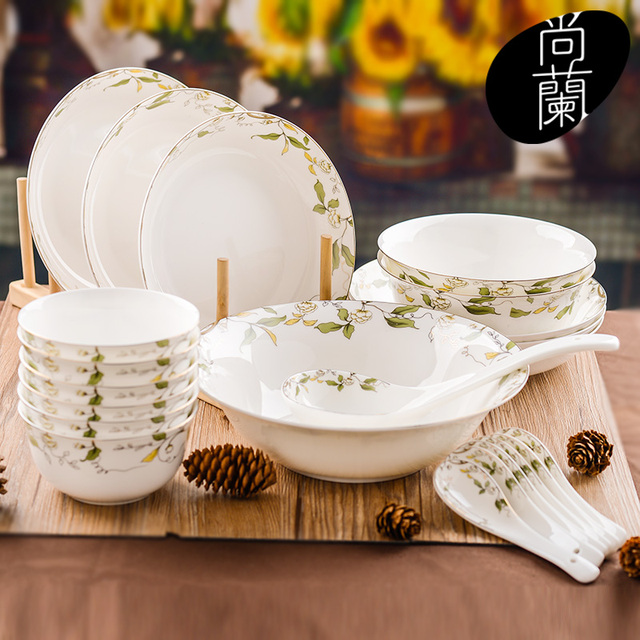 Chinese bone china tableware 22 dishes dish suits high end home ...