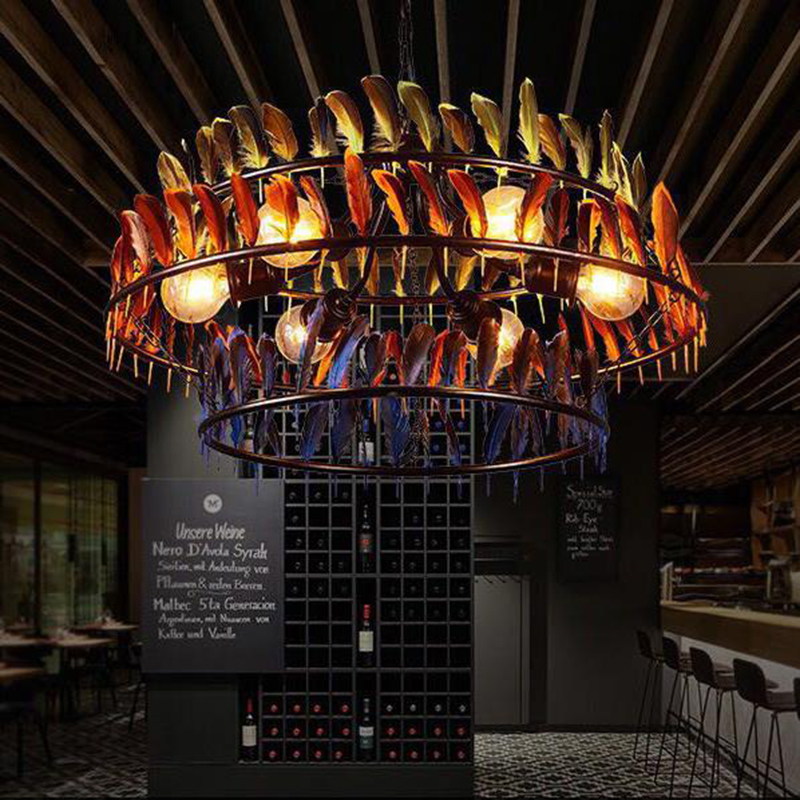 Southeast Asian style Retro industrial feather Pendant Lights decorative vintage lighting dinning room restaurant Pendant Lamps|Pendant Lights| |  -