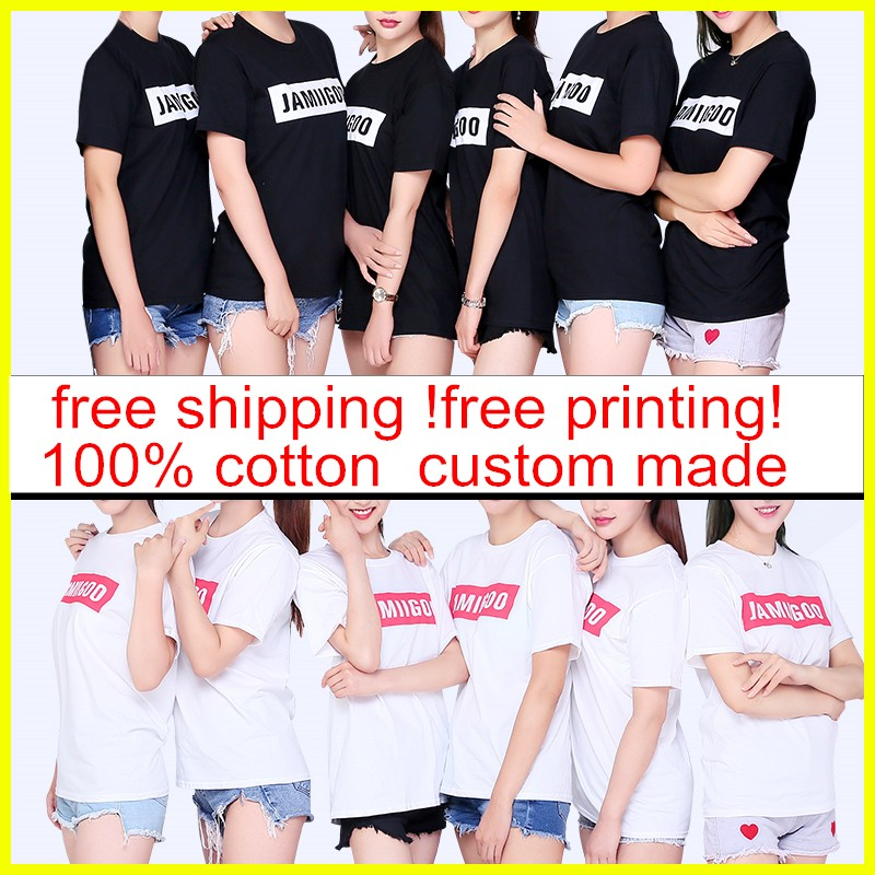free printing Logo Printed Personalized cotton Shirts Customized solid Color Text Photo Printing Apparel advertising T-shirt