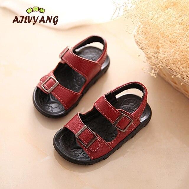 children Summer Genuine leather beach sandals Boys  Soft Bottom Comfortable sandals Toddler Kids baby Shoes Size 21-30