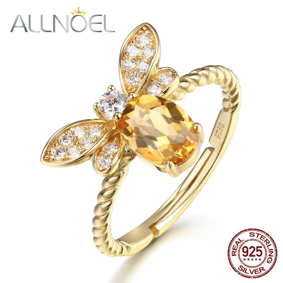 ALLNOEL 925 Sterling Silber Ringe Für Frauen 100% 14 K Gold 5*7mm Natürliche Edelsteine Citrin Zirkon Diamant bee Ring Hochzeit Schmuck