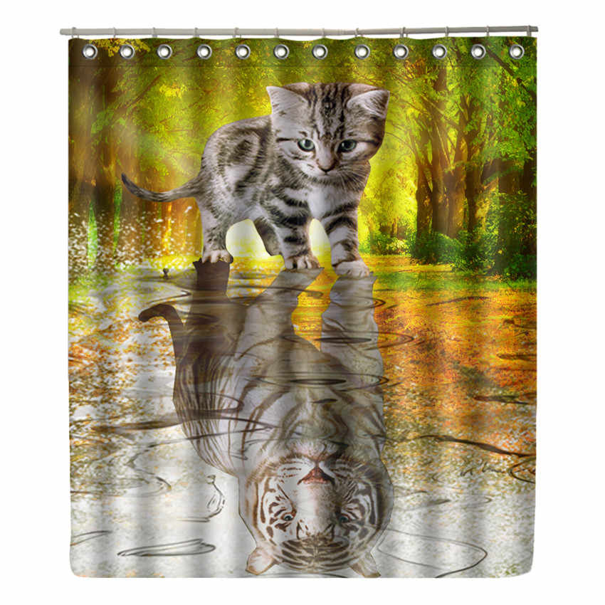 WONZOM Cat Reflex Tiger Shower Curtain Waterproof Bathroom Bear Curtain Modern Animal Bath Curtain With 12 Hooks Home Decor Gift