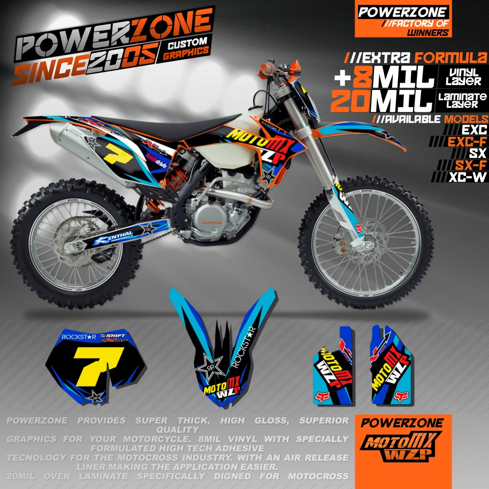 Customized Team Graphics Backgrounds Decals 3M Stickers WZP Kits For KTM SX SXF EXC 125 250 350 450 530 Free Shipping  0322 star new team graphics with matching backgrounds fit for ktm sx sxf 125 150 200 250 350 450 500 2011 2012