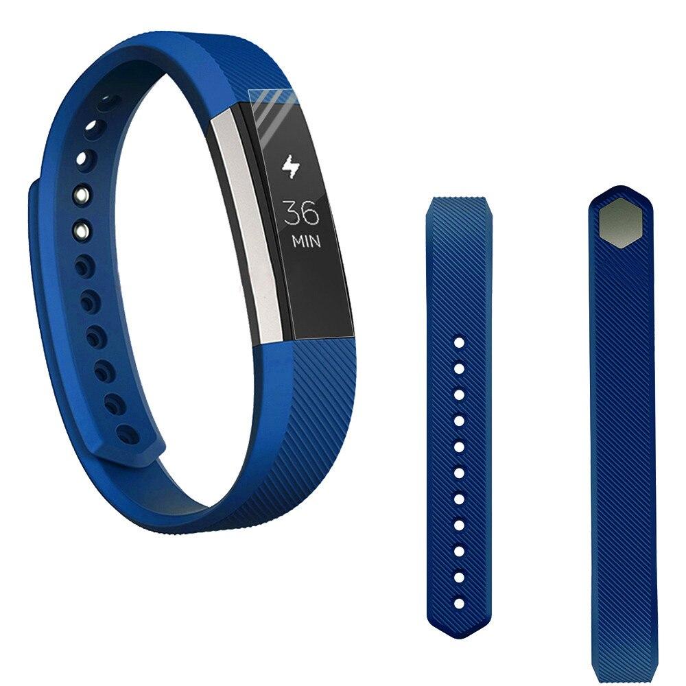 Zachte Sport Siliconen Band Polsband Deployment Gesp Voor Fitbit Alta Smart Horloge + Hd Beschermfolie En Om Een Lang Leven Te Hebben.