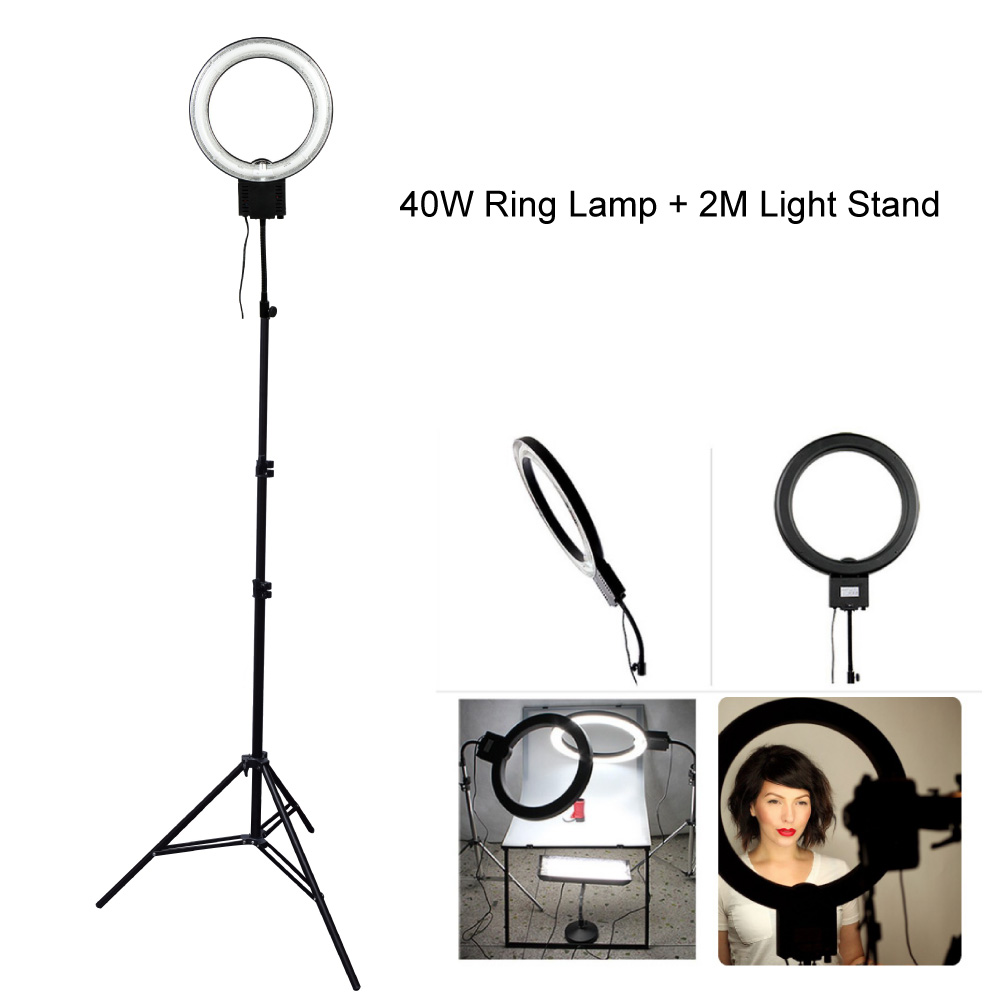 Studio 40W 5400K Daylight Fluorescent Diva Ring Lamp Light with 2M 200cm Tripod Stand fr Photography Video Photo Lighting Selfie