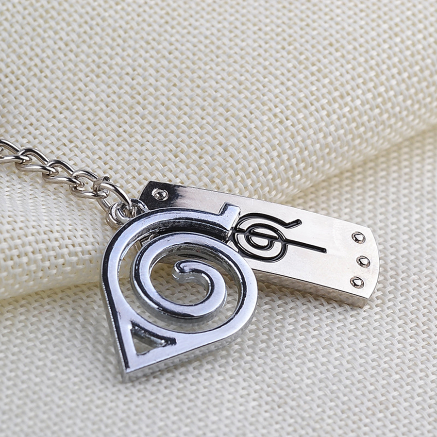 Naruto Uzumaki Naruto Konoha Logo Anime Keychain Metal Keychain Character Accessories in Costume Props from Novelty Special Use