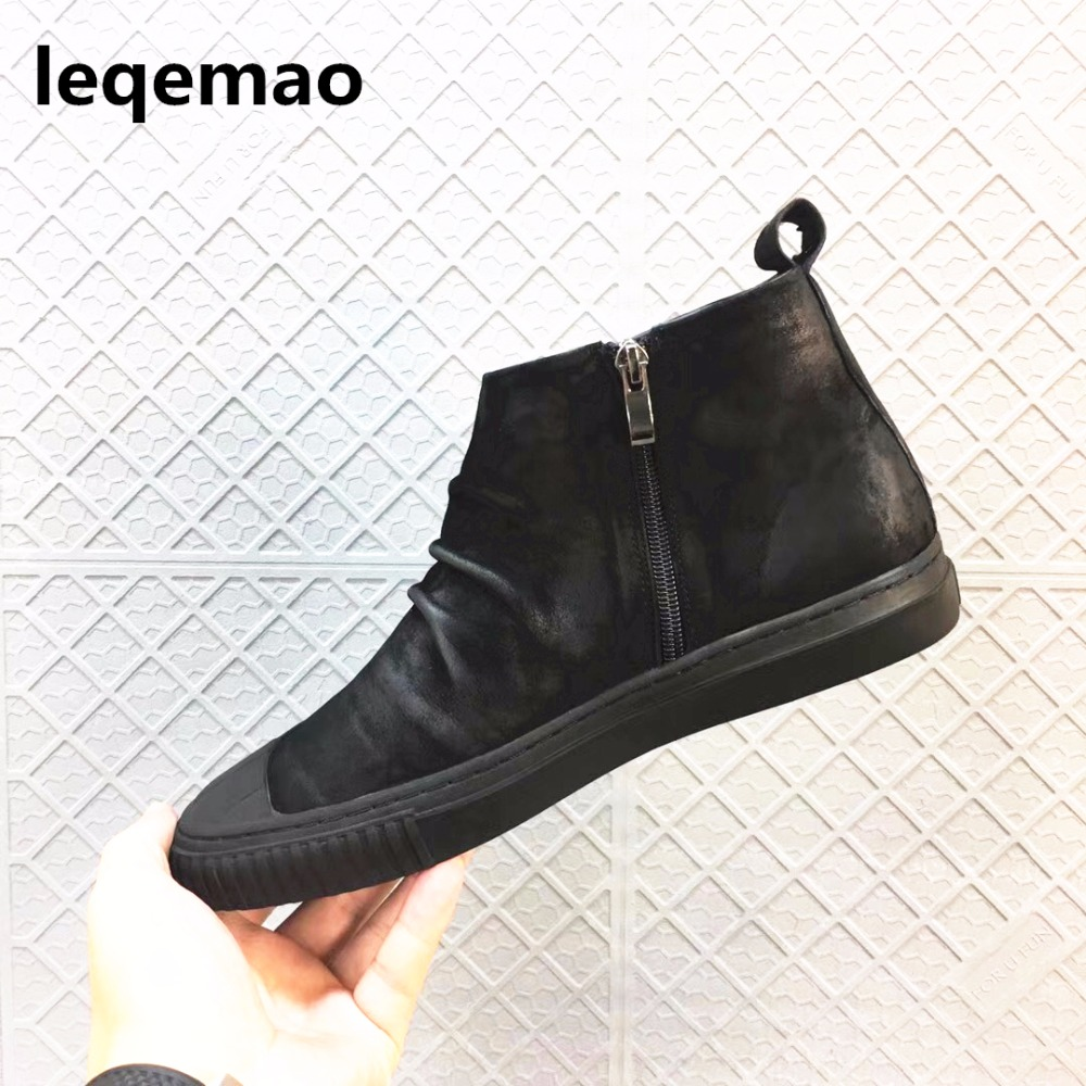 Spring Autumn Men Comfortable Fashion Zipper Man Casual Shoes Genuine Leather Boots  brand Shoes Size 38-44 Black Flats Shoes genuine leather men casual shoes plus size comfortable flats shoes fashion walking men shoes