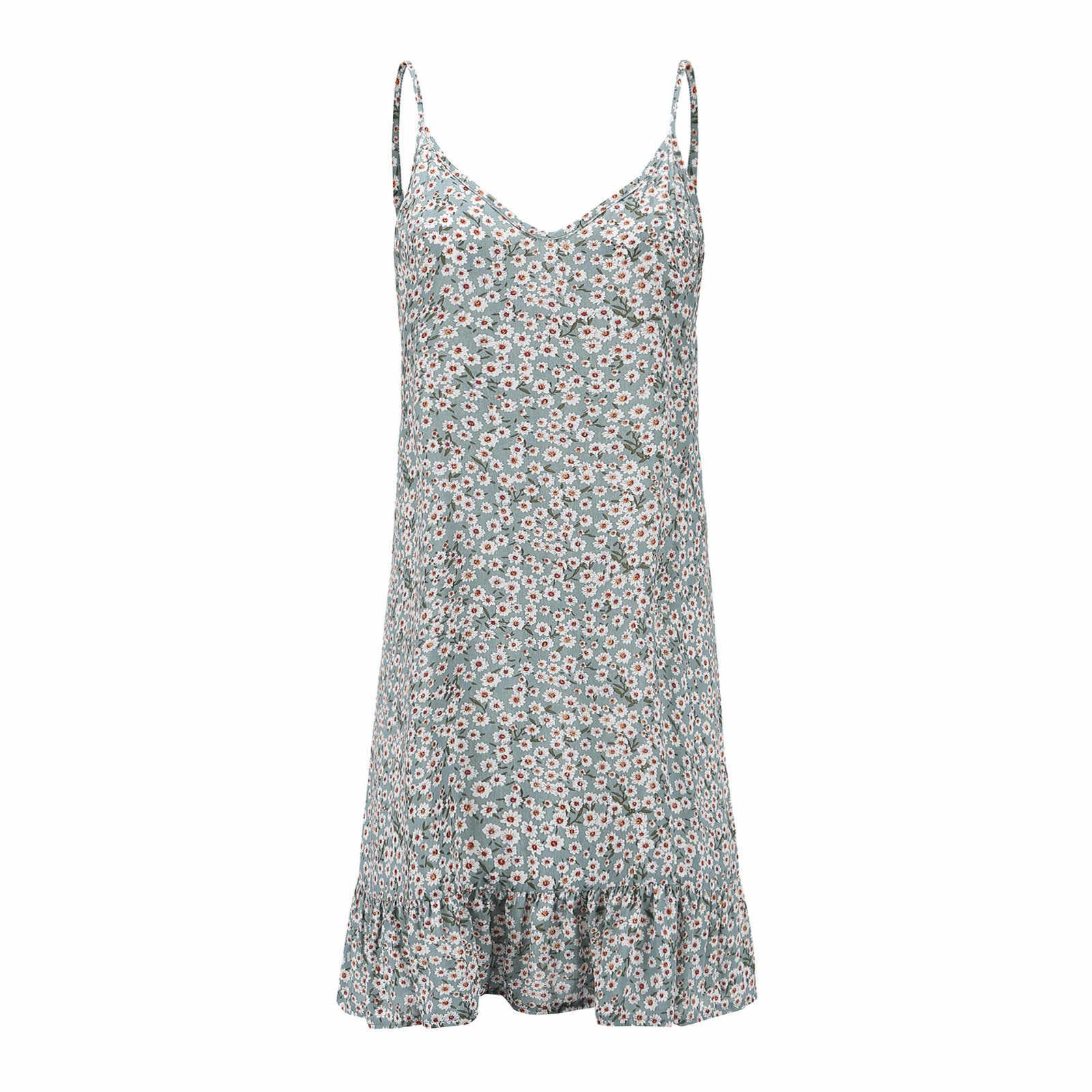 Mode été Boho imprimer courte Mini robe robe de princesse lâche sans manches décontracté robe de plage femmes robe de soirée Vestido de festa