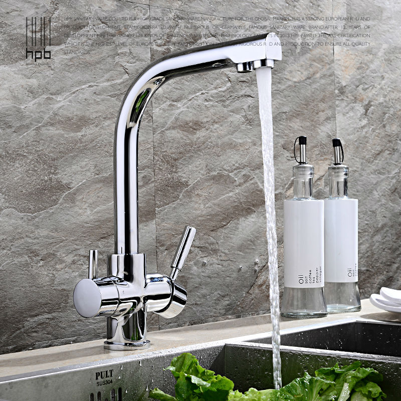 HPB Brass Double Functions Kitchen Tap Sink Mixer Filter Faucet Drinking Pure Water taps torneira robinet Chrome Brushed HP4302 sognare 100% brass marble painting swivel drinking water faucet 3 way water filter purifier kitchen faucets for sinks taps d2111