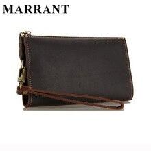 MARRANT Men Wallets Genuine Leather Purses Male Long Wallet Design Men's Leather Wallets Purse Brown Clutch Wallet Free Shipping