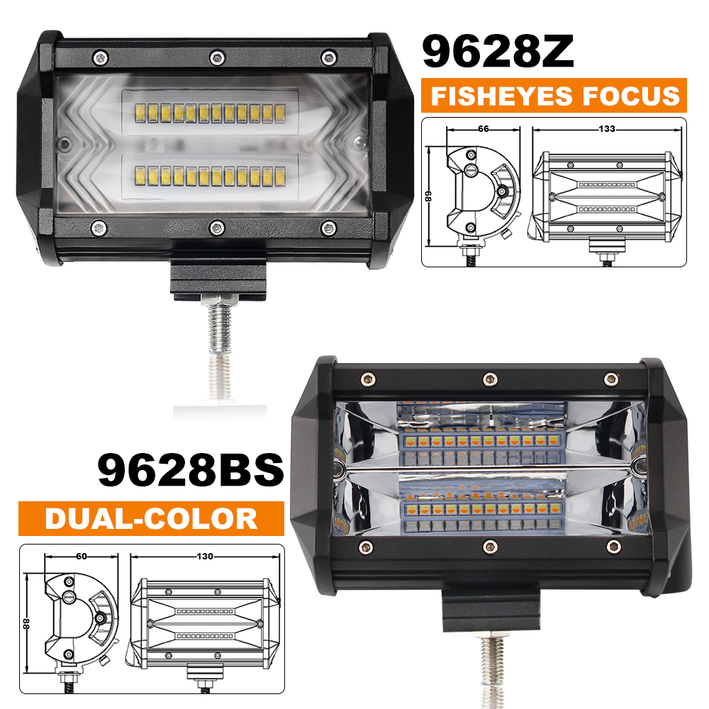 BraveWay 72W LED Work Light 12V 5 Inch LED Headlight for Auto Fog Lamp for Tractor Boat OffRoad Car Truck SUV ATV Motorcyle Lada in Light Bar Work Light from Automobiles Motorcycles