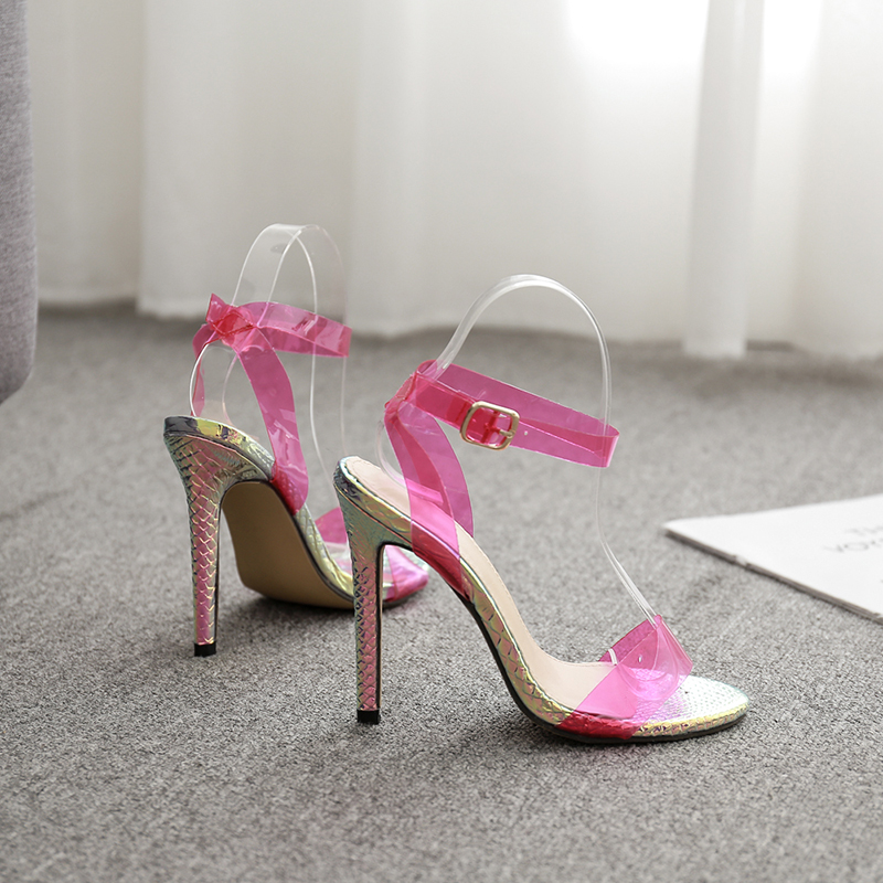 Fluorescent yellow 2019 PVC Jelly Sandals Crystal Open Toed High Heels Women Transparent Heel Sandals Slippers Discount Pumps 11 in High Heels from Shoes