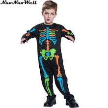 Halloween Colorful Printed Skeleton Body Print Scary Costume Full Sleeve Turtleneck Strech Cosplay Costume Jumpsuit