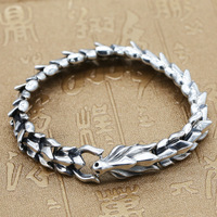 Manufacturers Wholesale S925 Sterling Silver Men Domineering Leader Thai Silver Retro Bone Link Keel Chain Silver Bracelet