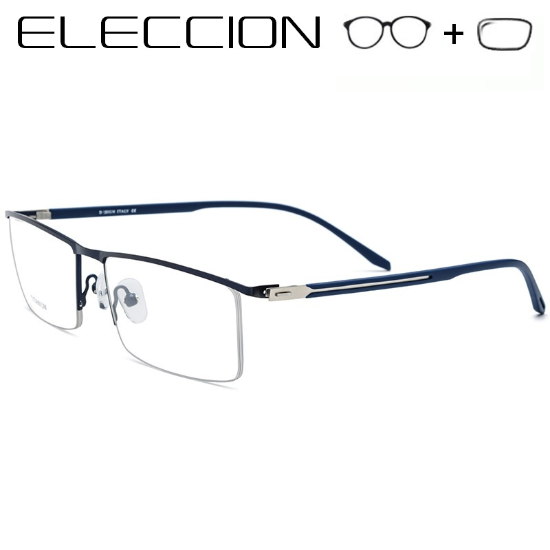 Titanium Alloy Myopia <font><b>Prescription</b></font> <font><b>Glasses</b></font> <font><b>Men</b></font> Eyewear With Photochromism Lenses <font><b>Glasses</b></font> <font><b>Progressive</b></font> Anti Blue Ray Clear Lens image