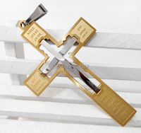 new 2014 gold and silver gradient bible double cross necklaces & pendants stainless steel amulet crucifix pendant