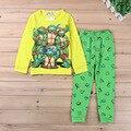 Primavera Otoño Algodón de Los Muchachos pijamas Del Bebé Teenage mutant ninja turtles vestido de ropa de Dormir Niños homewear ropa de Noche Niño