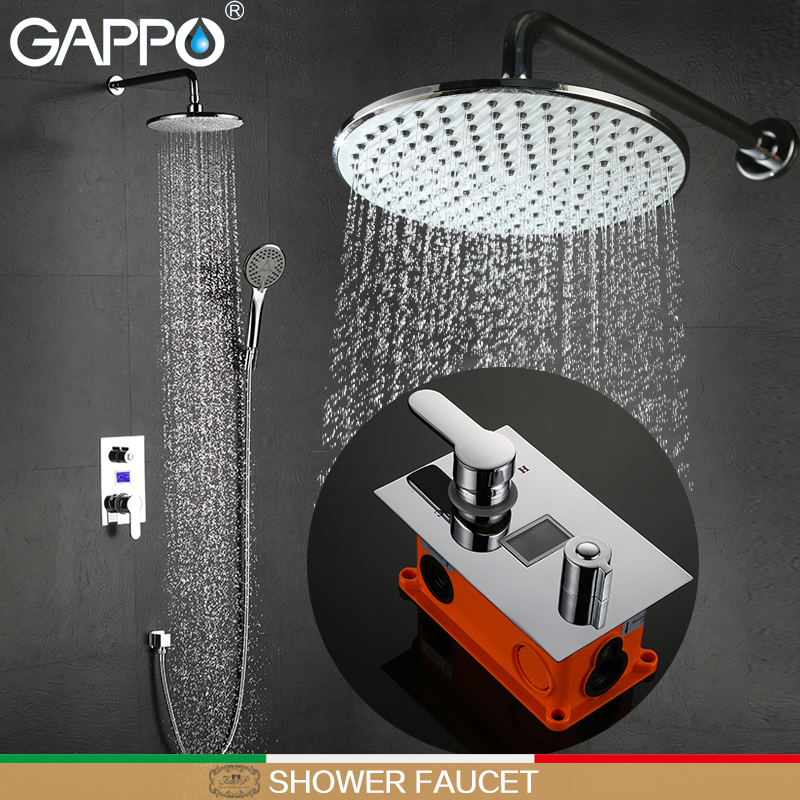 GAPPO shower faucets bathtub faucet LCD Digital Display shower set bath shower wall mount showers mixer