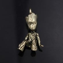 цены 4.6CM Solid Pure Copper Tree Man Groot Keychain Pendant Brass Car Motorcycle Keychain Pendant EDC Tools