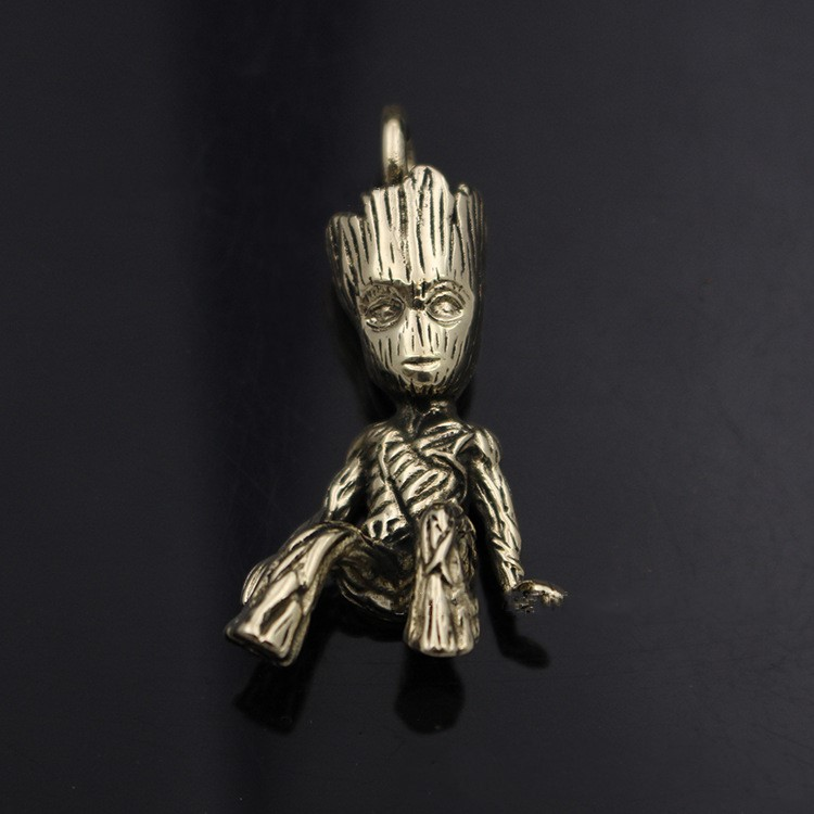 4.6CM Solid Pure Copper Tree Man Groot Keychain Pendant Brass Car Motorcycle Keychain Pendant EDC Tools