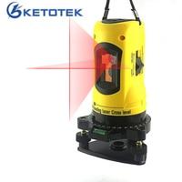 KETOTEK 2 Lines Laser Level Self leveling 360 Rotary Cross Line Laser Levels Horizontal Vertical Line 650nm