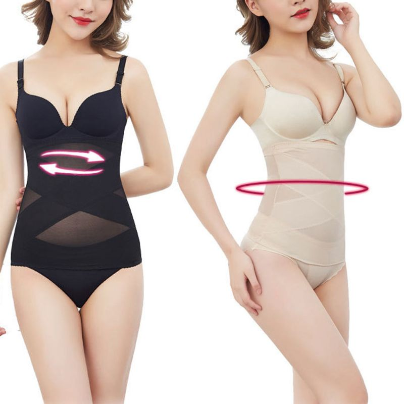 Womens Breathable Mesh Shapewear High Waisted Cross Tummy Control Seamless Body Shaper Corset Belly Band Postpartum Slimming