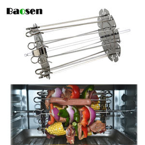 Baosen Stainless Steel Grilled Cage BBQ Roaster Barbecue Kebab Maker Meat Skewer Machine BBQ Grill Kitchen Air Fryer Accessories