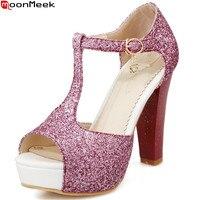 MoonMeek 2018 fashion summer new Arrival women shoes peep toe buckle ladies sandals thick heel platform high heels shoes