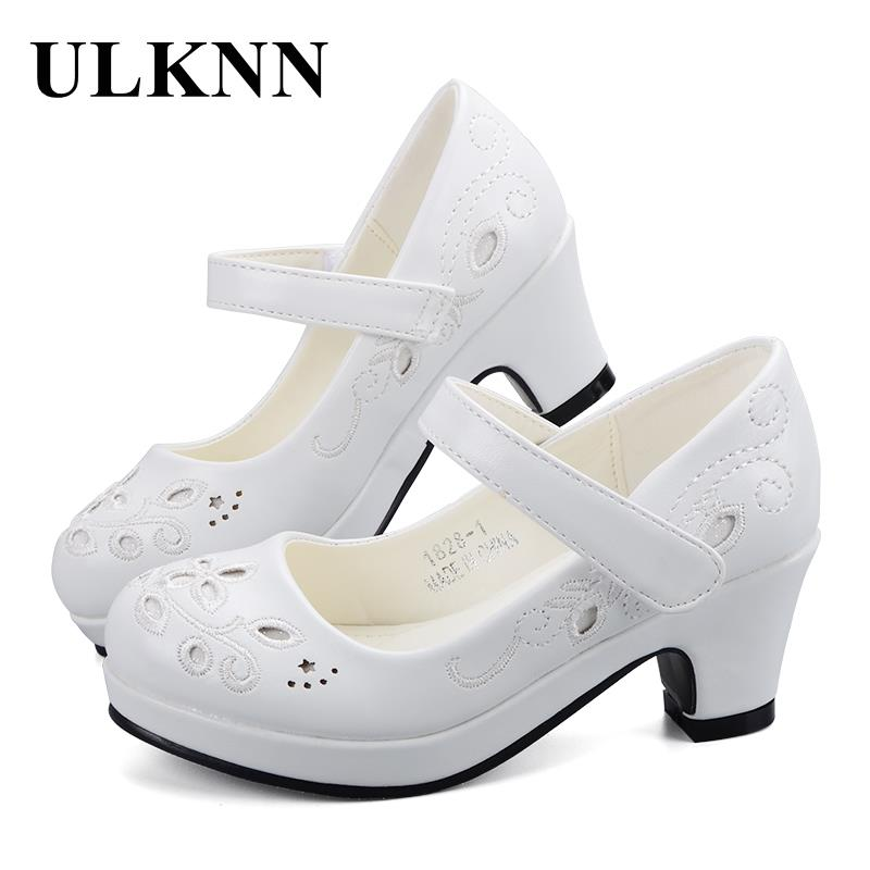 ULKNN Spring Autumn Girls Princess Shoes Leather Flowers Children High Heel Shoes For Girls Shoe Party Wedding Dress Kids Shoes