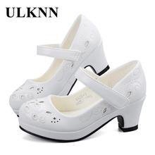 ULKNN Spring Autumn Girls Princess Shoes Leather Flowers Children High Heel For Shoe Party Wedding Dress Kids