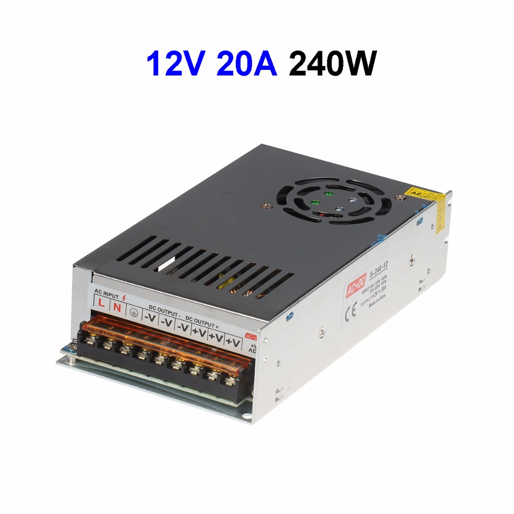 5pcs DC12V 20A 240W Switching Power Supply Transformer With Fan For LED Display LCD Monitor CCTV Cameras Wholesale 4pcs 12v 1a cctv system power dc switch power supply adapter for cctv system