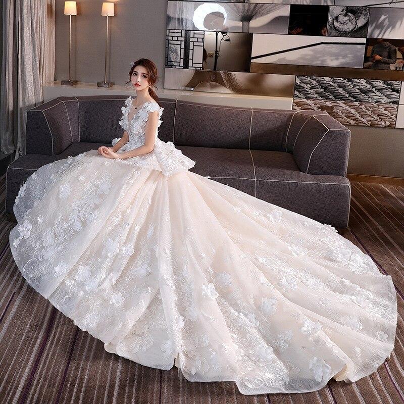 Robes de mariée luxueuses Robe de mariée en dentelle pleine fleur princesse Mingli Tengda Robe Mariage Femme robes Royal Train Sexy dos nu
