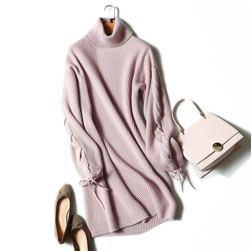 Sweater Dress Women 100% Cashmere Thick Turtleneck Sweter Dresses Knitted Solid Long Elegant Ladies Sweater Dresses For Winter fashion 2018 women autumn winter sweater dresses slim turtleneck sexy bodycon solid color robe long knitted office ol dress 1089