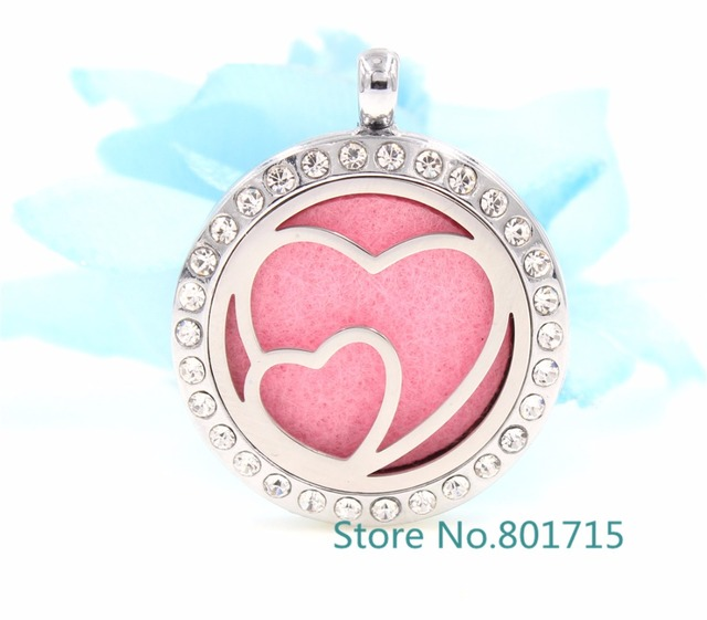 Round Double Heart (30mm) Aromatherapy / Essential Oils Alloy frame ...