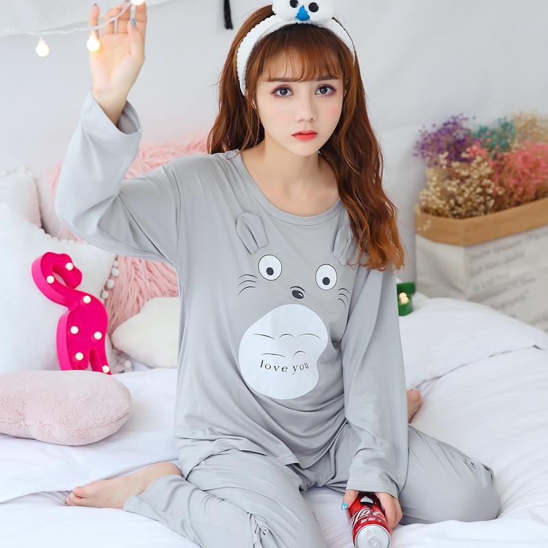 Spring Autumn Cotton Pajamas Sets For Women Long Sleeve Pyjama Girls Cute Cartoon Totoro Sleepwear Pijama Mujer Homewear Clothes