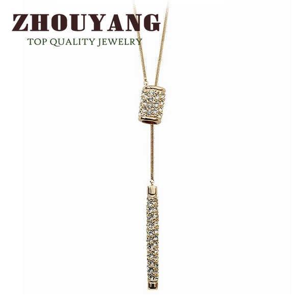 למעלה איכות מתכוונן חם סוודר שרשרת עלה זהב צבע תליון שרשרת אוסטרי קריסטל ZYM010 ZYM011
