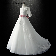 Vestidos de primera comunion/Новинка, кружевной вырез лодочкой, 1/2 рукав, трапециевидный белый цветок, настоящая фотография платьев для девочек, платья в пол
