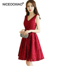 NICEOOXIAO Wine Red V neck Short Evening font b Dress b font Embroidery Lace Flowers font