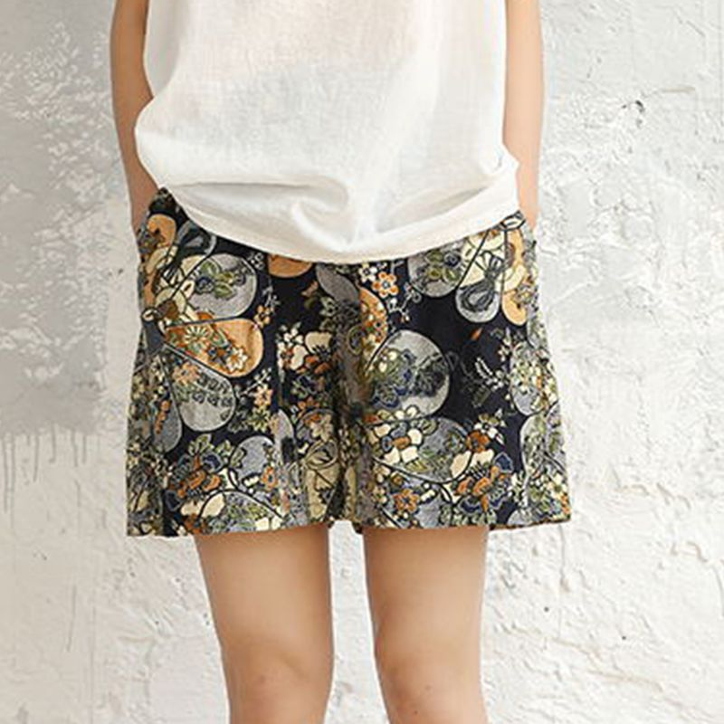 Mori Girl Floral   Shorts   Womens Beach Ethnic Print Cotton Linen Casual Wide Leg Boho   Shorts   Comfortable Loose Elasict Waist