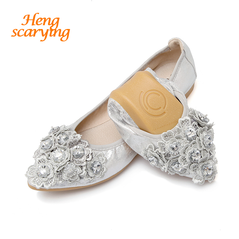 HENSCARYING Fashion Women Camellia Sliver Gold Ballet Flats Crystal Flat Small Size Plus Size 33-45 Female Shoes Zapatos Mujer