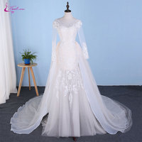 Waulizane Chic Tulle Bridal Gown Exquisite Embroidery 2017 O Neck 2 In 1 Detachable Train Wedding