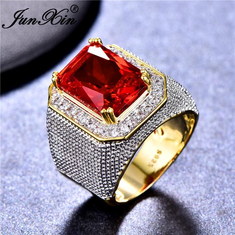 2019 Neue Mode Großen Männlichen Rot Geometrische Ring Mit Zirkon Stein 18kt Gelb Gold Gefüllt Große Hochzeit Ringe Für Männer