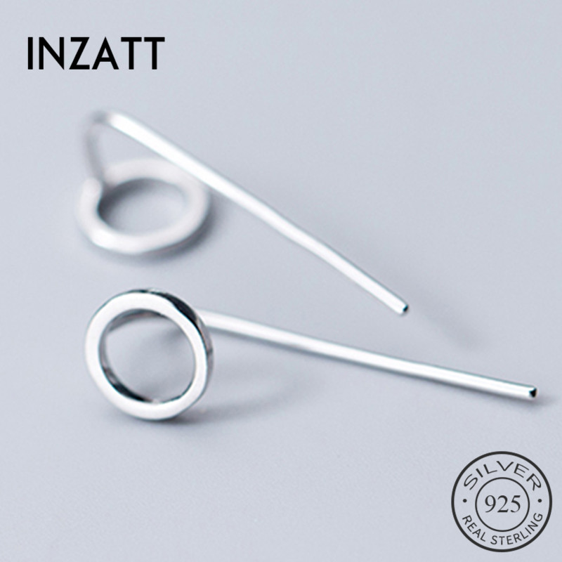 INZATT Real 925 Sterling Silver Minimalist Round Stud Earrings For Fashion Women Fine Jewelry 2019 Geometric Accessories