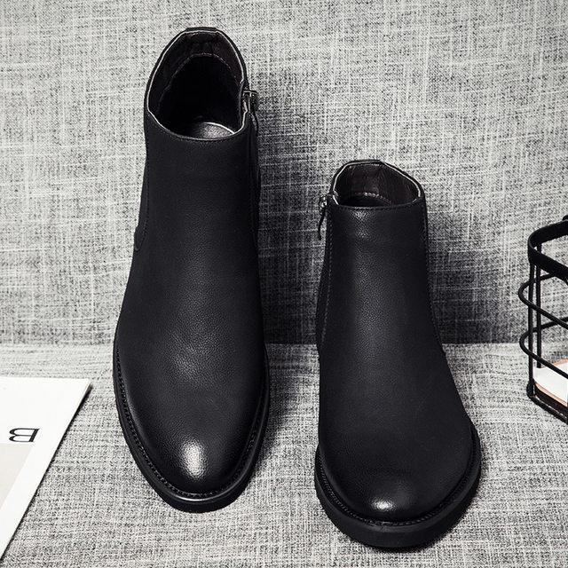 30ba7afd007 Online Shop Classic Chelsea Boots Men 2018 Winter Fashion All Black ...
