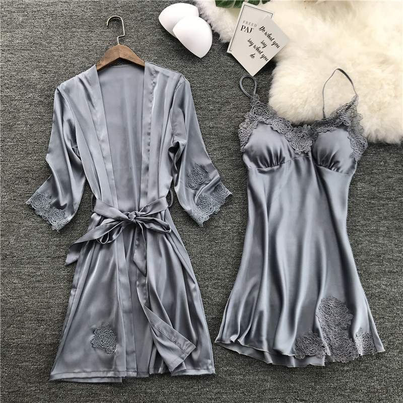 Silk Robe Femme With Chest Pads Sexy Lace Sleepwear Night Dress Robes Women Nightwear Robe Set Nighty Home Dress Sleeping Dress
