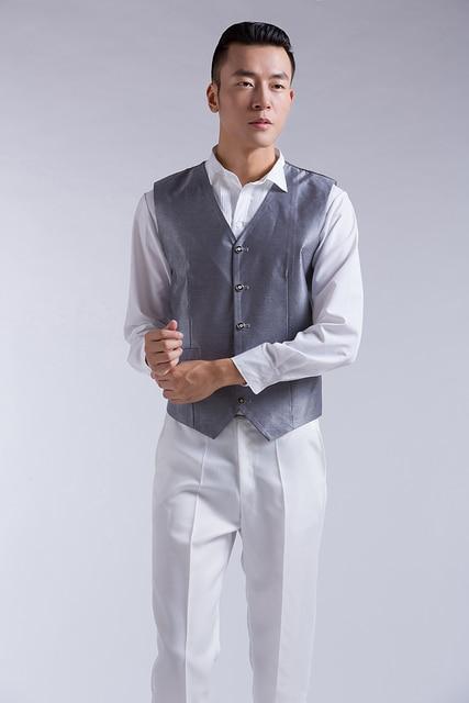 new 2016 men vest hot sale Spring and autumn men's clothing plus size S-4XL fashion male casual coletes vest men black suit