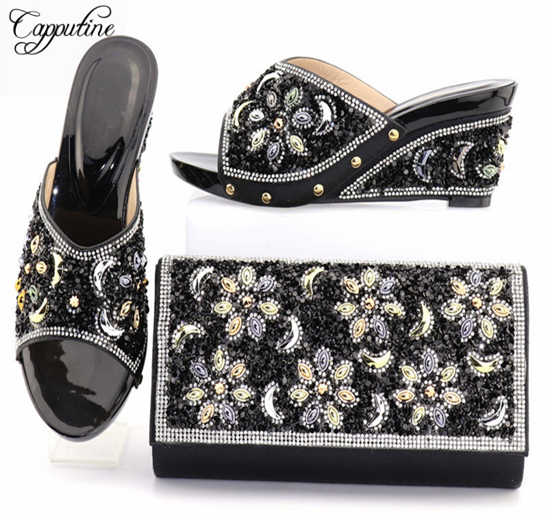 Capputine Nigerian Style Woman High Heels Shoes And Bags Set New African Ladies Pumps Shoes And Bag Set For Party Free Shipping