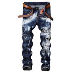 Mcikkny Ретро Для Мужчин's Прямые джинсы брюки синий с принтом букв джинсовые брюки Здравствуйте улица мужчины Зауженные джинсы брюки
