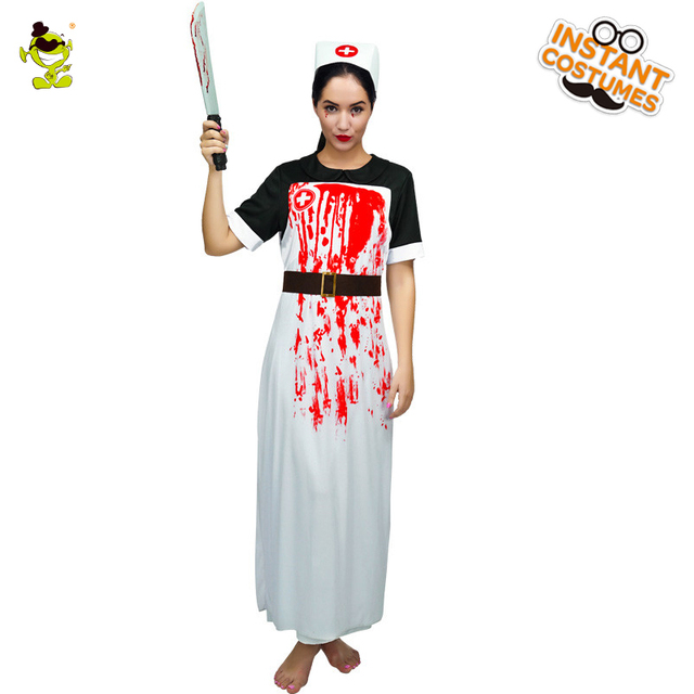 05cca6740c210 Bloody Zombie Nurse Costumes with Whole-body Bloodstain Adult Halloween  Party Gruesome Doctor Killer Cosplay Fancy Dress