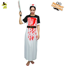 Bloody Zombie Nurse Costumes with Whole-body Bloodstain Adult Halloween Party Gruesome Doctor Killer Cosplay Fancy Dress